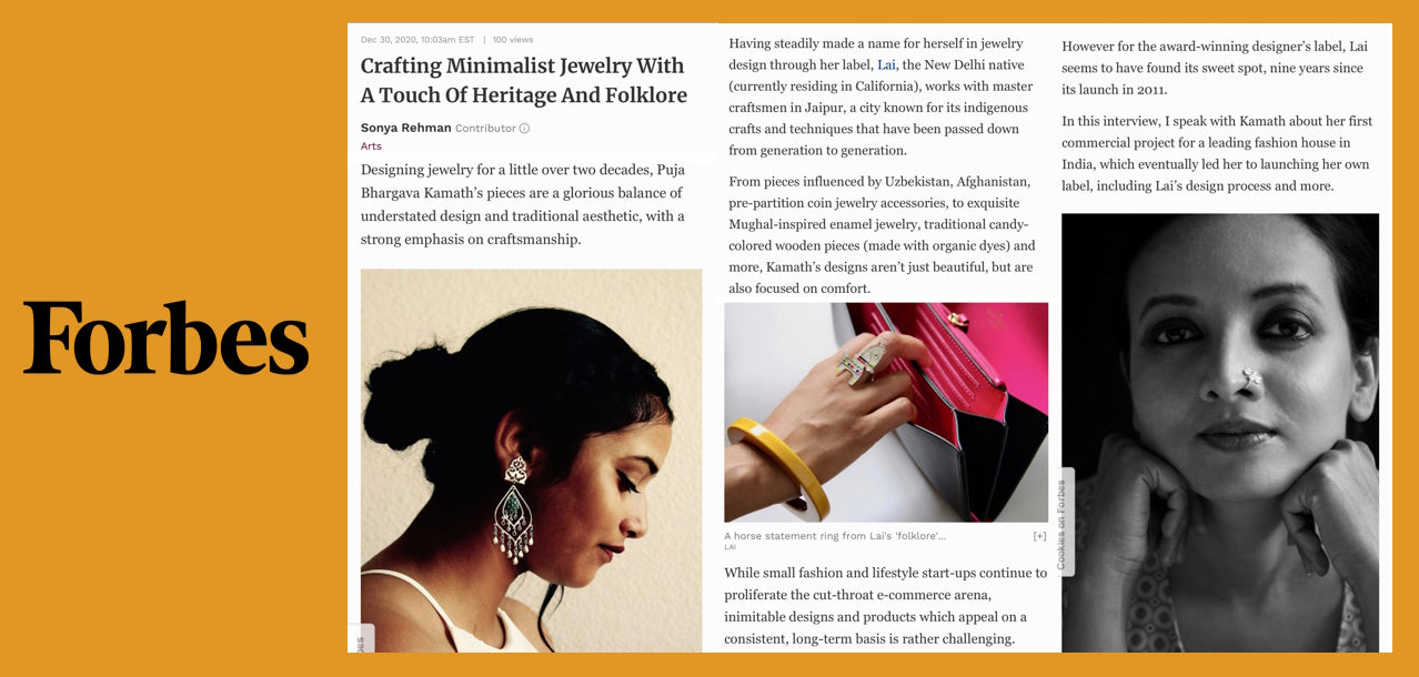 Forbes. Lai press. Interview with Puja Bhargava Kamath by Sonya Rehman.