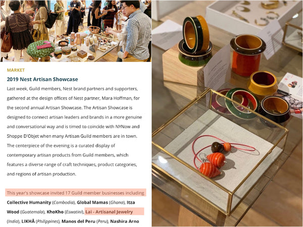Nest Artisan Showcase at Mara Hoffman's New York office. Channapatna handcrafted lacquered wooden jewelry.