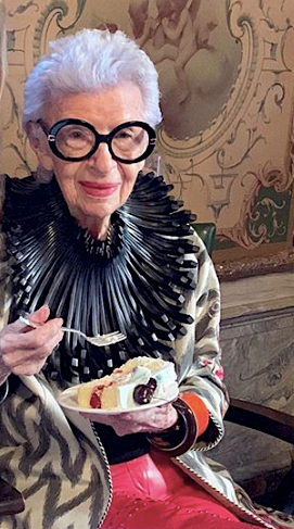 Iris Apfel wearing Lai's Channapatna lacquered wooden 'warrior' bangle at an event at Hudson yard in New York