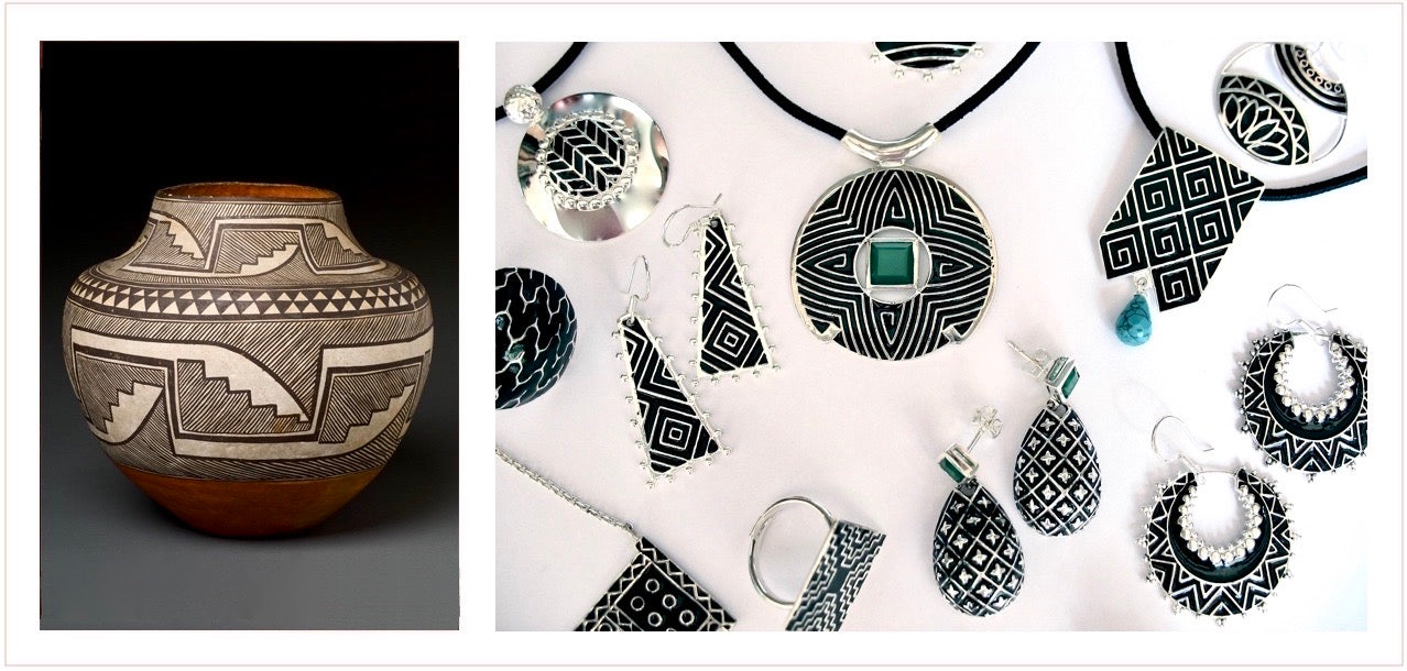 pubelo native american pottery inspired handcrafted sterling silver jewelry. black and white collection. original and unique jewelry by lai