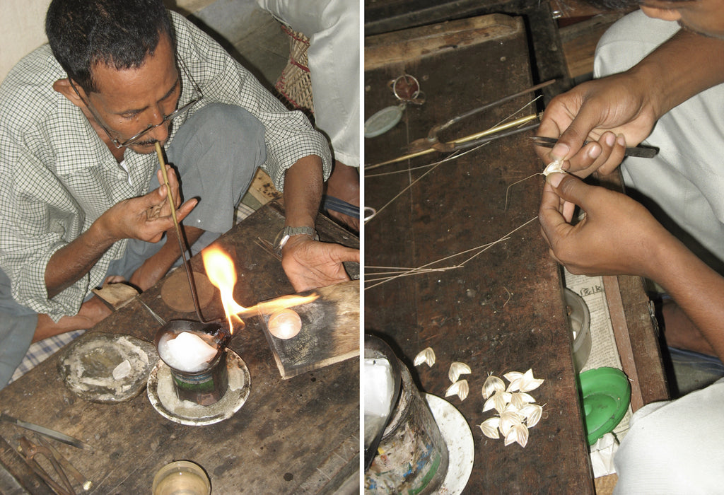 soldering and crafting handmade sterling silver jewelry. Handmade in India by Lai