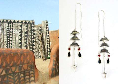 Artistic, chic, long threader earrings with enamel detailing (PB-10264-ER)  Earrings Sterling silver handcrafted jewellery. 925 pure silver jewellery. Handmade in India, fair trade, artisan jewellery. Lai