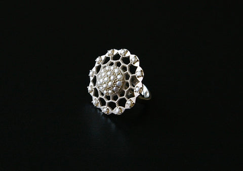 Dramatic pearl encrusted filigree round ring (PB-9057-R)  Ring Sterling silver handcrafted jewellery. 925 pure silver jewellery. Handmade in India, fair trade, artisan jewellery. Lai