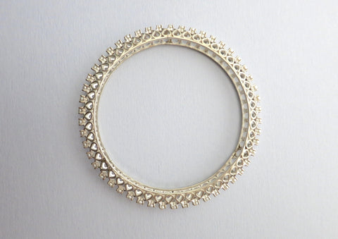 Classic & timeless pearl encrusted statement bangle (PB-1200-B) Bangles Sterling silver handcrafted jewellery. 925 pure silver jewellery. Handmade in India, fair trade, artisan jewellery. Lai