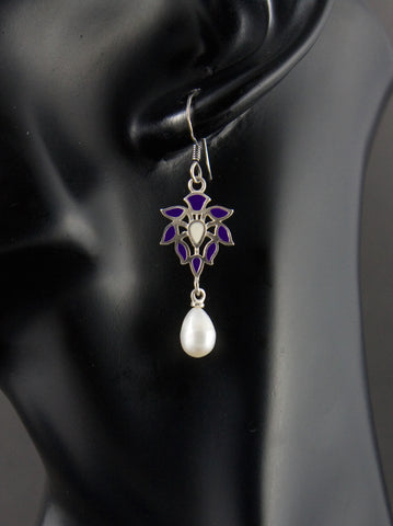 Elegant Mughal motif enamel pearl drop earrings (PB-1515-ER)  Earrings Sterling silver handcrafted jewellery. 925 pure silver jewellery. Handmade in India, fair trade, artisan jewellery. Lai