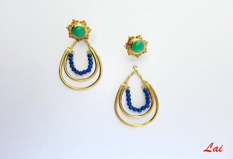 Stunning green blue detachable earrings that can be worn 2 ways (PB-2918-ER)  Earrings Sterling silver handcrafted jewellery. 925 pure silver jewellery. Handmade in India, fair trade, artisan jewellery. Lai