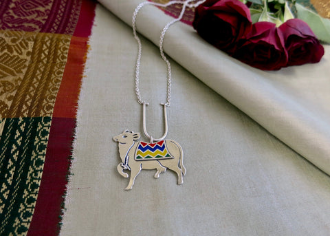 Gorgeous, enamel 'gau' (cow) necklace (PB-2609-N)  Necklace, Pendant Sterling silver handcrafted jewellery. 925 pure silver jewellery. Handmade in India, fair trade, artisan jewellery. Lai