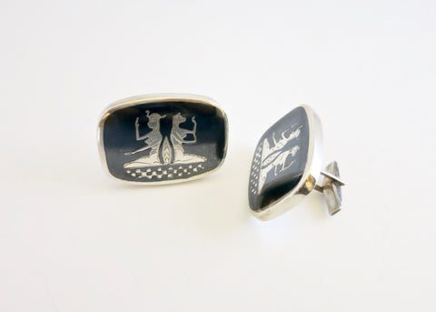 Rare, very large Egyptian revival Niello work cufflinks  Cuff links Sterling silver handcrafted jewellery. 925 pure silver jewellery. Handmade in India, fair trade, artisan jewellery. Lai