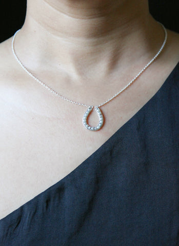Dainty, pearl encrusted horse-shoe pendant necklace (PB-2221-N)  Necklace, Pendant Sterling silver handcrafted jewellery. 925 pure silver jewellery. Handmade in India, fair trade, artisan jewellery. Lai