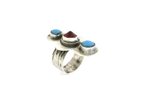 Classic Central Asian Turkmen ring with red stone and turquoise  Ring Sterling silver handcrafted jewellery. 925 pure silver jewellery. Handmade in India, fair trade, artisan jewellery. Lai