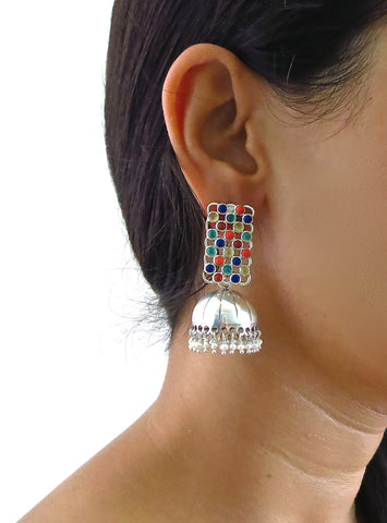 Artistic light weight detachable jhumkas with rectangular multi color gemstone tops (PBJ-04-S)  Earrings Sterling silver handcrafted jewellery. 925 pure silver jewellery. Handmade in India, fair trade, artisan jewellery. Lai