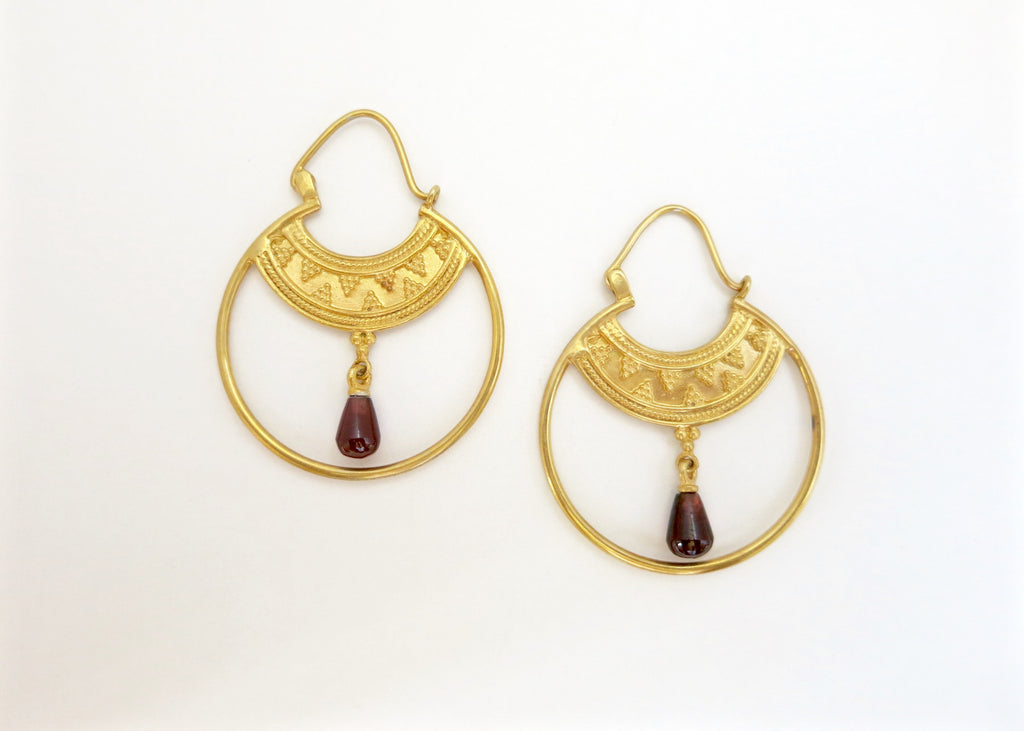 Stunning Hellenic gold plated hoops with a gemstone drop (PB-2167-ER)