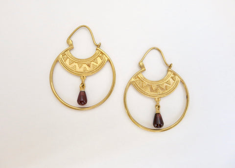 Stunning Hellenic gold plated hoops with a gemstone drop (PB-2167-ER)  Earrings Sterling silver handcrafted jewellery. 925 pure silver jewellery. Handmade in India, fair trade, artisan jewellery. Lai