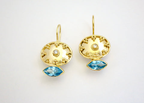Beautiful oval gold plated earrings with navette shape blue topaz (PB-2176-ER)  Earrings Sterling silver handcrafted jewellery. 925 pure silver jewellery. Handmade in India, fair trade, artisan jewellery. Lai