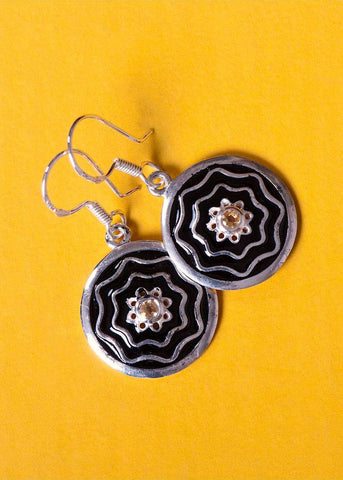 Dainty, round earrings with citrine and fine black enamel work  Earrings Sterling silver handcrafted jewelry. 925 pure silver. Handmade in India, fair trade, conscious, sustainable, artisan jewelry. Earrings, necklace, pendant, ring, vintage, ornaments. Contemporary, unique and on-trend. Lai