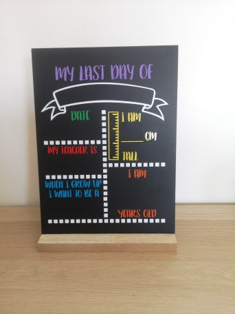 First Day of School Chalk Board - Multicoloured Block Letters