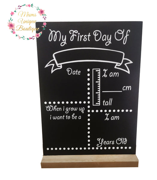 First Day of School/Daycare Dots Chalk Board with Ruler