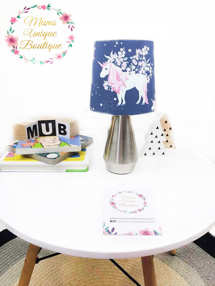 Navy Floral Unicorn Touch Lamp Switch Lamp Night Light Table Lamp