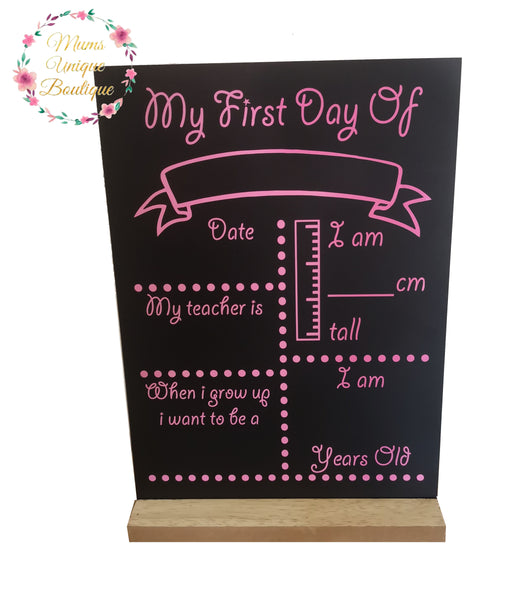 First Day of School/Daycare Dots Chalk Board with Ruler My Teacher - Pink