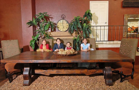 Mesquite dining table with kids
