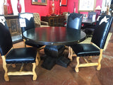Tear Drop Alder Wood Round Dining Table - La Casona Custom Furniture  - azcasona.net