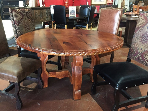 "Floor Model 60"" Custom Yugo Rope Edge Mesquite Wood Round Dining Table - La Casona Custom Furniture - azcasona.net"