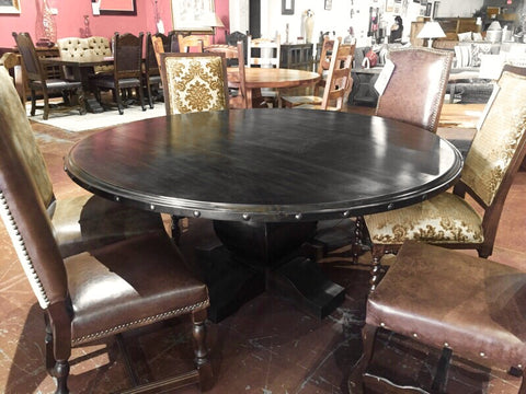 Custom Tear Drop Alder Wood Round Dining Table - La Casona Custom Furniture  - azcasona.net