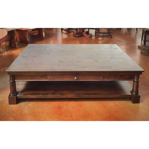 Wood Coffee Table Alder Drawer