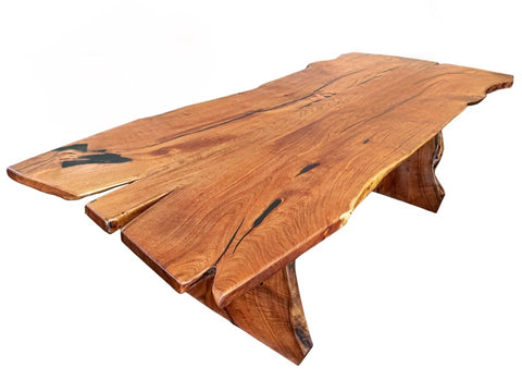 Live Edge Mesquite Rustic Dining Table - La Casona Custom Furniture  - azcasona.net