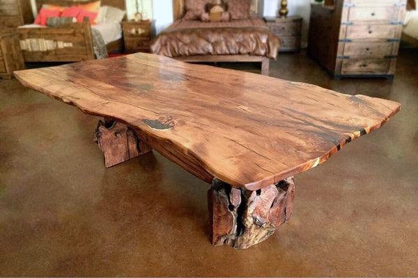 Root Live Edge Mesquite Rustic Dining Table Copper Inlay