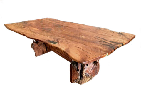 Root Live Edge Mesquite Rustic Dining Table Copper Inlay - La Casona Custom Furniture  - azcasona.net