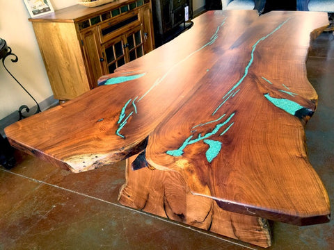 Custom Made Slab Live Edge Mesquite Dining Table Turquoise Inlay