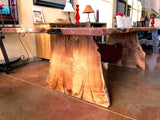 Live Edge Mesquite Rustic Dining Table Turquoise Inlay - La Casona Custom Furniture  - azcasona.net