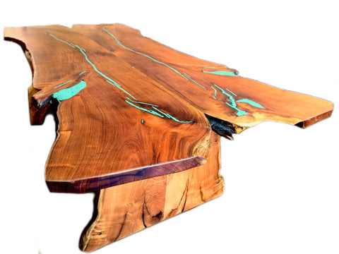 Custom Made Slab Live Edge Mesquite Dining Table Turquoise Inlay - La Casona Custom Furniture - azcasona.net