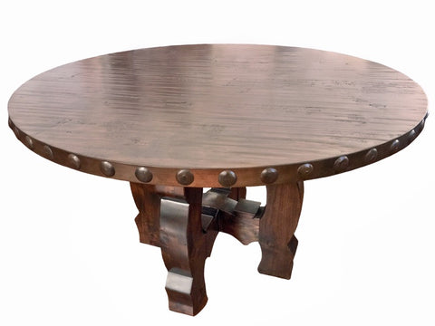 Round Yugo Alder Rustic Dining Table - La Casona Custom Furniture  - azcasona.net