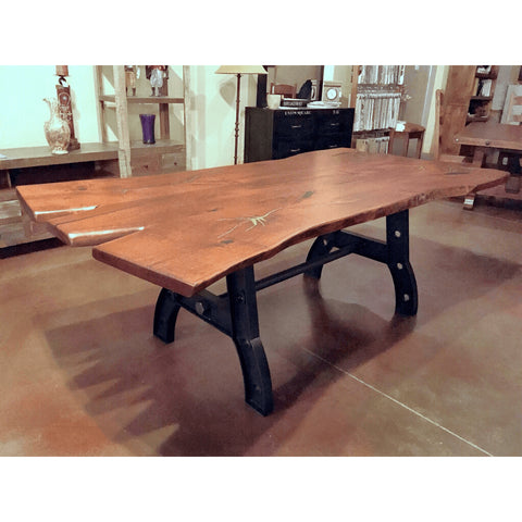 Live Edge Mesquite Wood Dining Table Iron Base - La Casona Custom Furniture  - azcasona.net