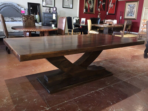 "Floor Model 108"" Mesquite Wood Top Dining Table with Slide Alder Base - La Casona Custom Furniture - azcasona.net"