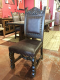 Floor Model Custom Hojas Carved Side Chair in Dark Brown - La Casona Custom Furniture - azcasona.net
