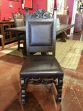 Custom Leather Hojas Carved Side Chair - La Casona Custom Furniture  - azcasona.net