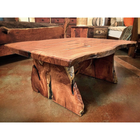 Live Edge Mesquite Wood Coffee Table with Slab Base - La Casona Custom Furniture  - azcasona.net