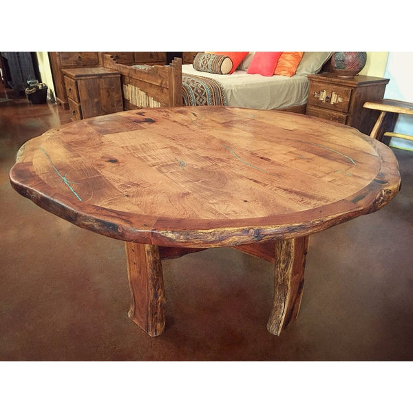 Live Edge Round Dining Table - La Casona Custom Furniture  - azcasona.net