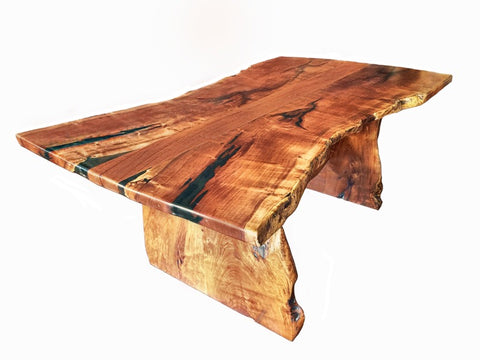 Custom Made Slab Live Edge Mesquite Dining Table 2 - La Casona Custom Furniture - azcasona.net