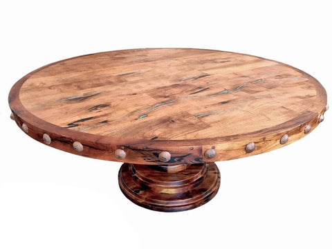 Round Pedestal Mesquite Rustic Dining Table - La Casona Custom Furniture  - azcasona.net