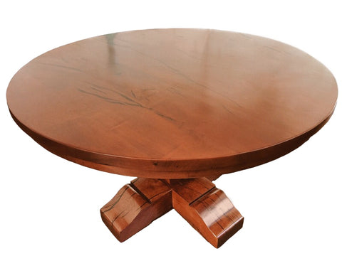 Custom Made Round Tear Drop Mesquite Dining Table - La Casona Custom Furniture - azcasona.net