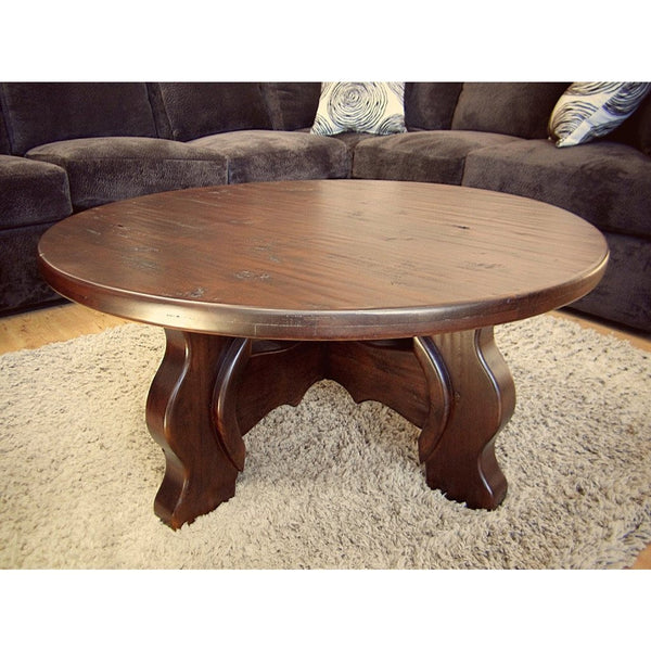 Round Wood Coffee Table Alder Yugo - La Casona Custom Furniture  - azcasona.net