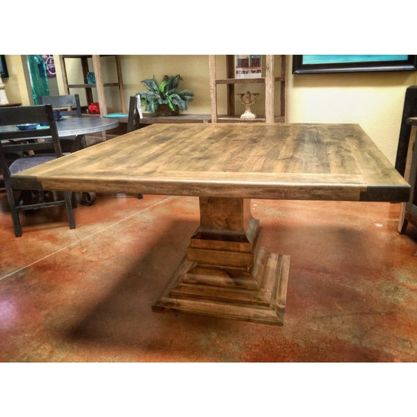Tall square wooden dining table dark brown