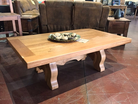 "Floor Model 60"" Yugo Cherry Wood Top Coffee Table - La Casona Custom Furniture - azcasona.net"