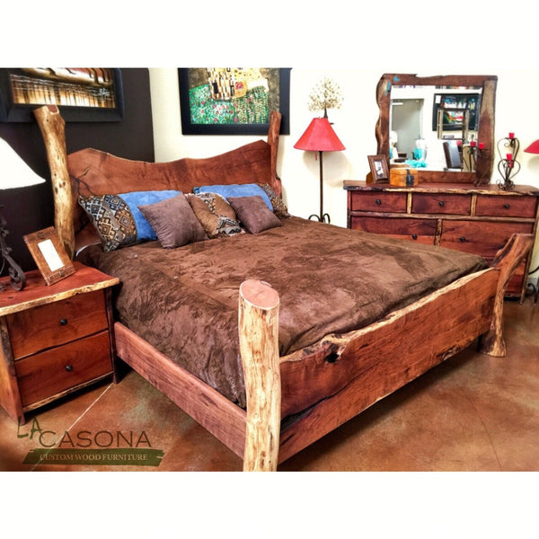 Live Edge Wood Slab Bed - La Casona Custom Furniture  - azcasona.net