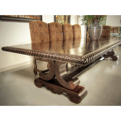 Alder Wood Dining Table with Rope Edge Sierra - La Casona Custom Furniture  - azcasona.net