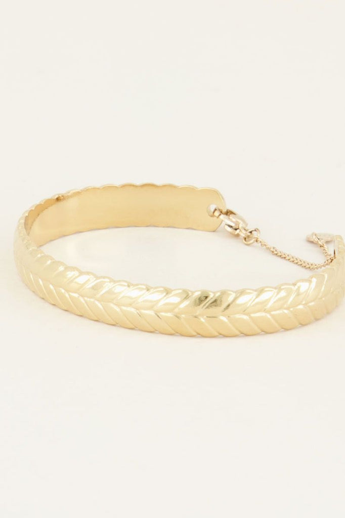 Gevlochten bangle goud